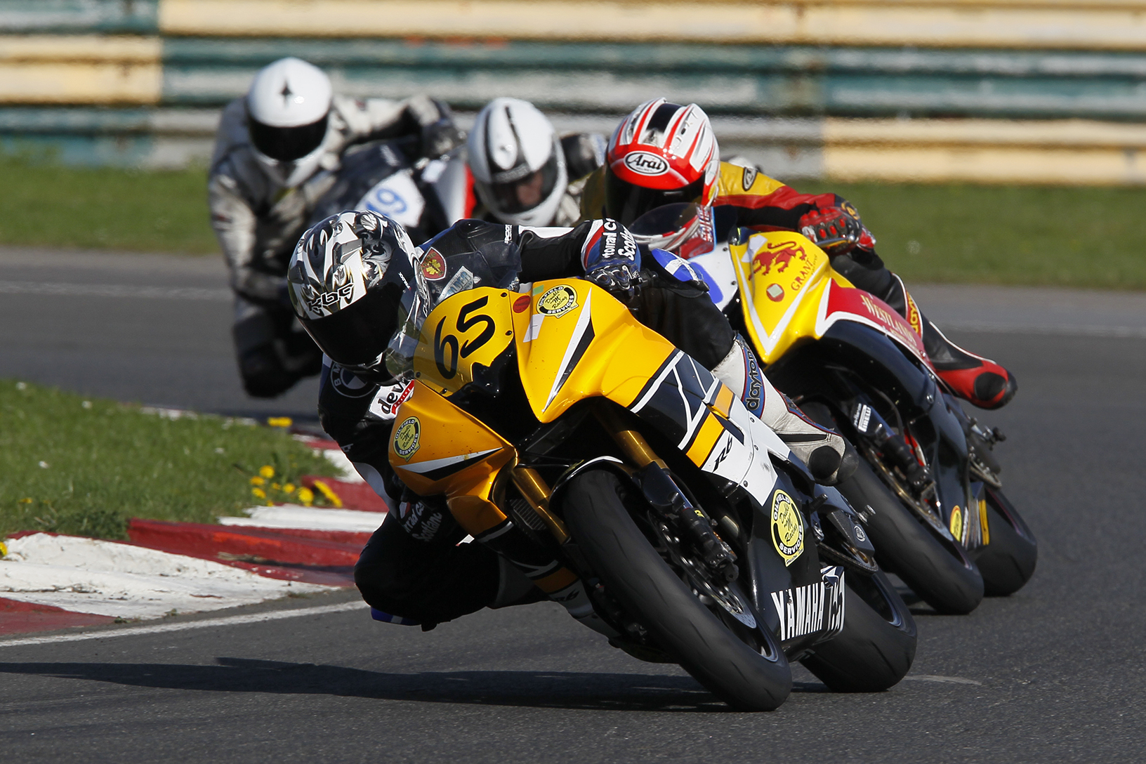 Dave Paton Motorcycle Racing on his way to victory at NEMCRC Croft meeting 2011