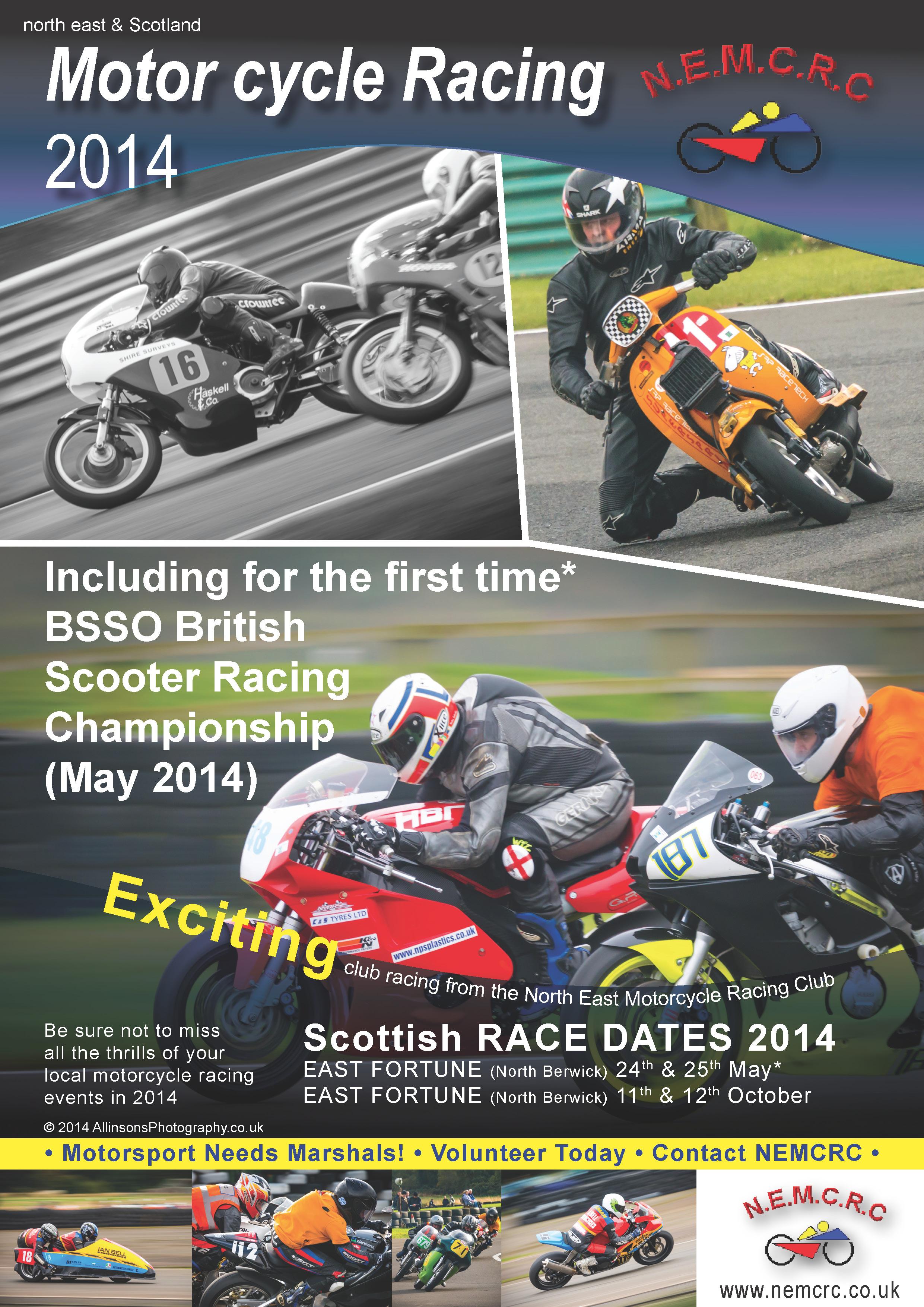 Motorcycle Racing Poster NEMCRC East Fortune 2014